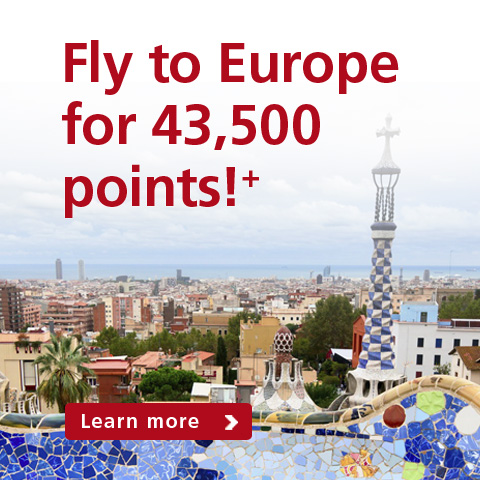 Fly to Europe for 43,500 points!+