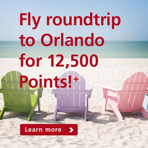 Fly roundtrip to Orlando for 12,500 points!