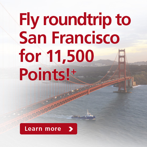 Fly roundtrip to San Francisco for 11,500 points!