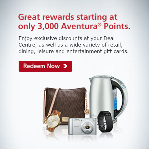 Great rewards starting at only 3,000 Aventura(R) Points.